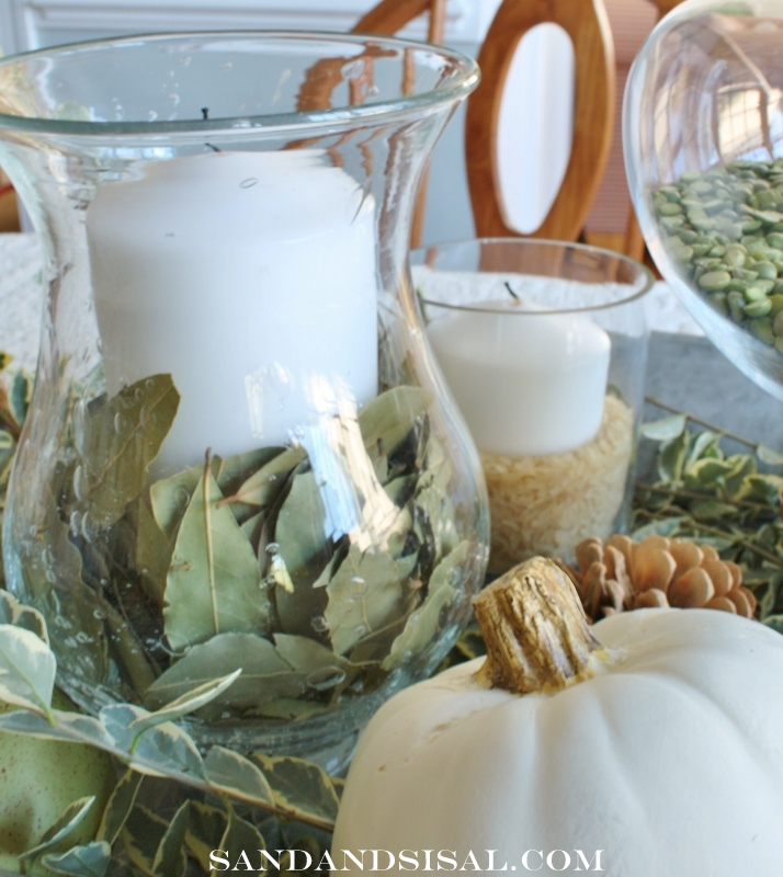 Decorating with Natural Elements by Sand & Sisal http://www.sandandsisal.com/2012/10/green-and-white-autumn-centerpiece.html