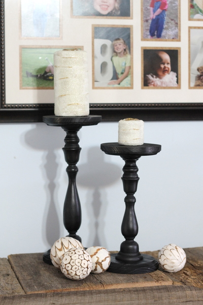 pottery barn knock off candles and candle holders, crafts, The completed candles and candle holders ready for display See how to make these knock offs for yourself
