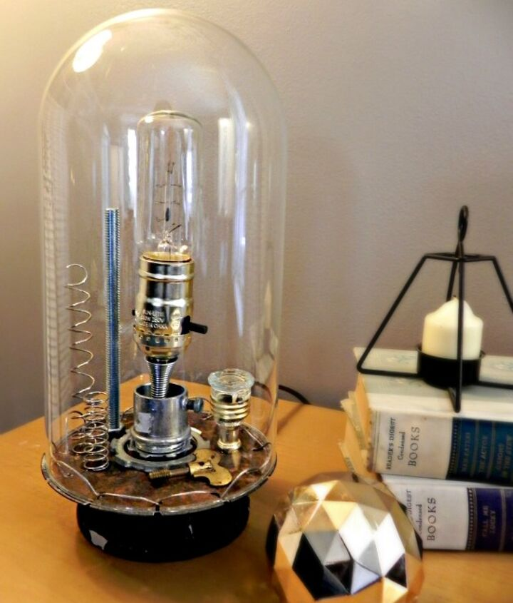 The lamp works with both vintage and modern decor,  http://www.madincrafts.com/2013/02/anthro-inspired-inventors-bell-jar-lamp.html