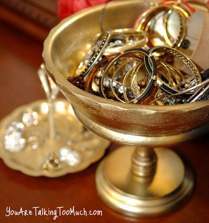 "Thrift store fruit bowl, spray painted to add some ""bling"". PERFECT for bangles and bracelets! http://www.youaretalkingtoomuch.com/2013/02/jewelry-organization-ideas/"