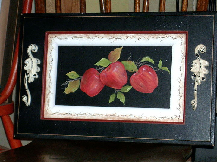 Apple Tray by GranArt, this is another cabinet door that I painted, added some metal hangers as handles and turned it into a serving tray.