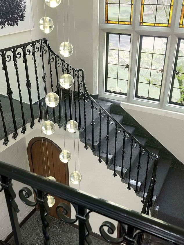 Looking down on renovated main staircase.