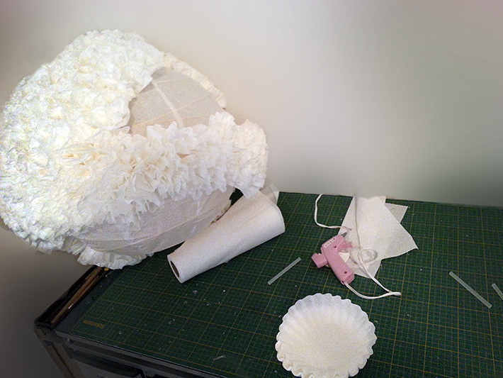 In progress - gluing the coffee filters to the lantern