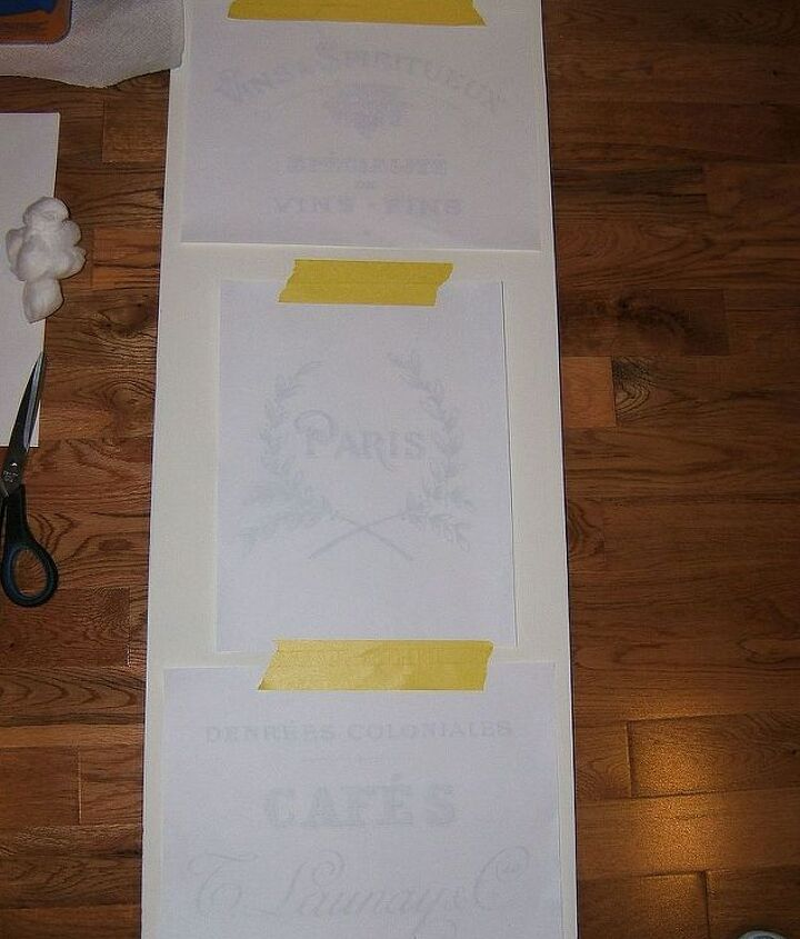 Tape the French toner based graphics, from http://graphicsfairy.blogspot.com/, to the painted table leaf- Use a cotton ball with Lacquer Thinner to transfer the graphic to the leaf. Remove the graphic and let it dry.