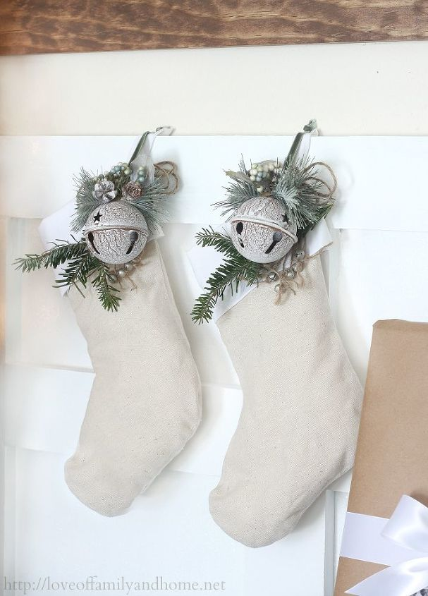 Stockings that I had on hand. I added a little greenery & the jingle bell ornaments you see to add color.