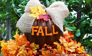 diy fall pumpkin topiary, crafts, seasonal holiday decor, I used Dollar Store leaves and berry picks for the base of the topiary