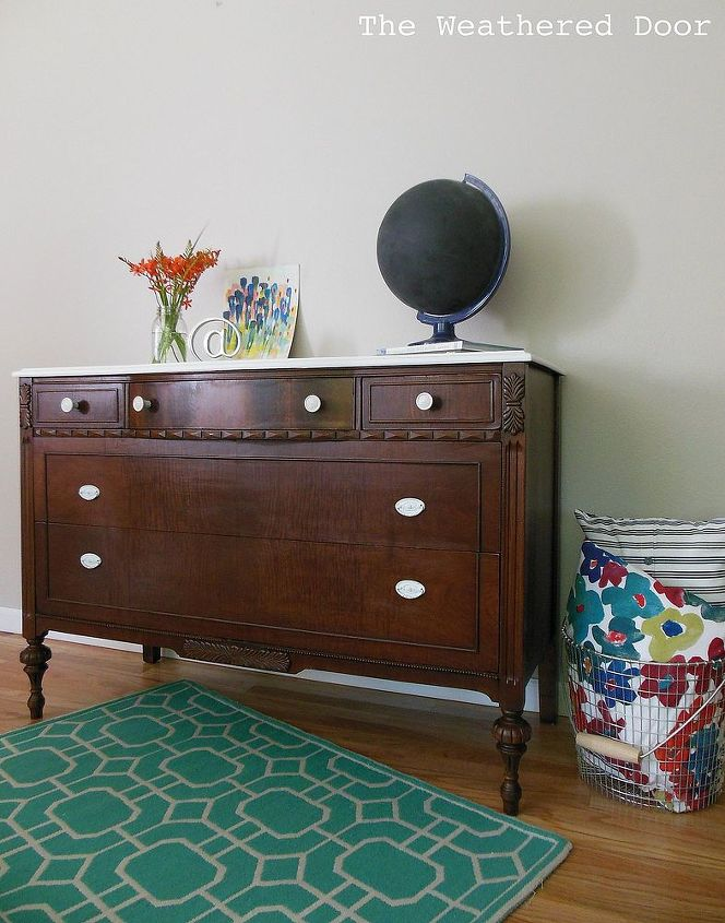 A Dark Wood Dresser With White Top Painted Furniture Woodworking Projects After