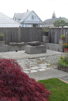 reuseing cinder blocks to make a fire pit, decks, gardening, outdoor living, the end result nice
