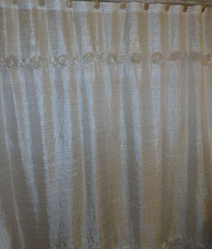 shimmery shower curtain i got for 50 cents at a thrift store.