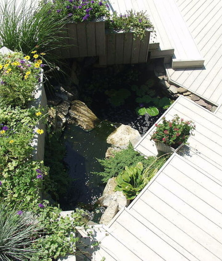 Trex deck, and platform stairs with an Aquascape micro pond in a former planting bed www.deckandpatio.com