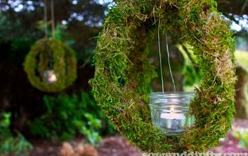 outdoor moss candle orb s, crafts, gardening, outdoor living, Suspend a jam jar inside the orb for a tea light
