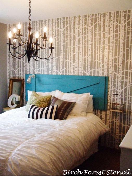 Birch Forest Stencil Transformed Bedroom
