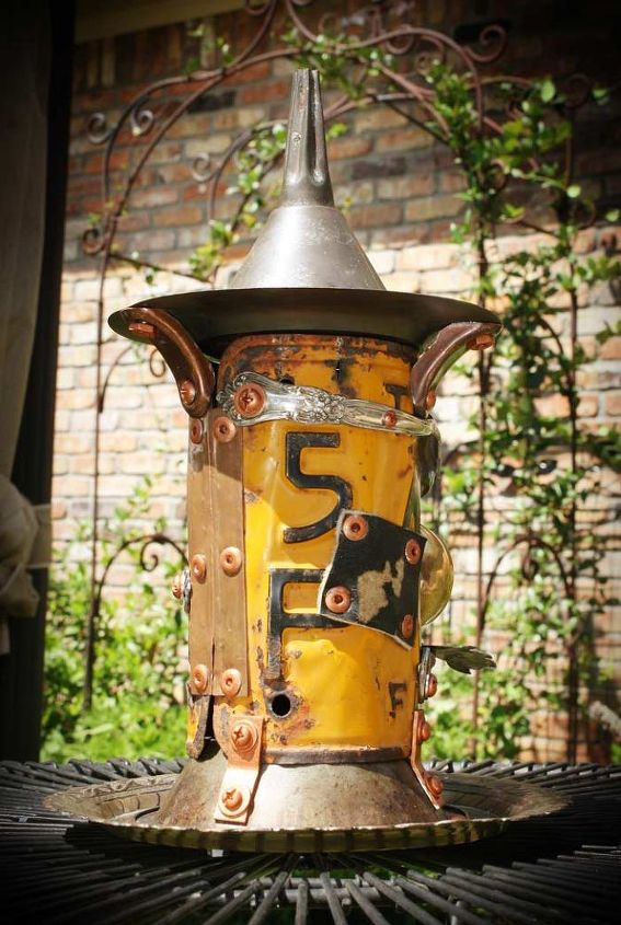 Orange License Plate & Leather Halloween Witch Pedestal Repurposed Upcycled Metal Birdhouse