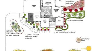q does anyone know of a good lanscape design software program not to exspensive, gardening, landscape, I drew this using MS Paint as mentioned above using our main level floor plans to work around The plants were drawn in using the spray paint tool we have made a few changes but it s relatively the same