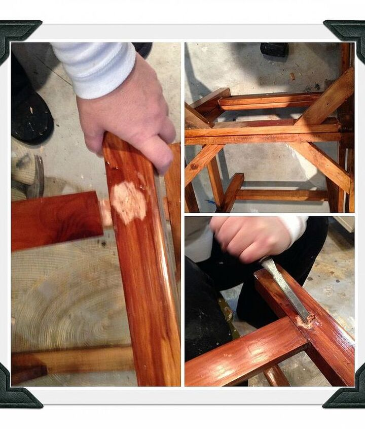 Taking apart the old chair to use in the DIY Chair Bench