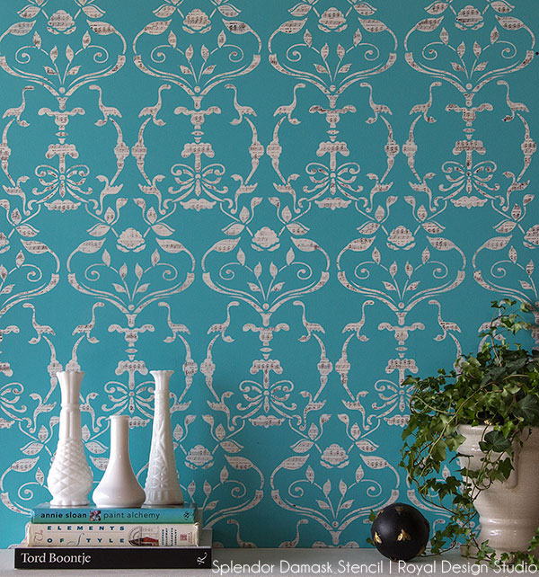 Our finished Wall Stencil Splendor Damask with a 'musical' touch given by using a craft rubber stamp! http://www.royaldesignstudio.com/products/splendor-damask-bari-j-wall-stencil