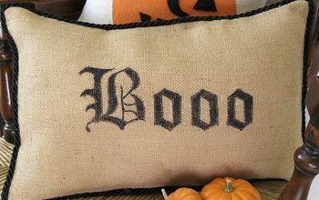 no sew pottery barn inspired boo pillow, crafts, halloween decorations, seasonal holiday decor