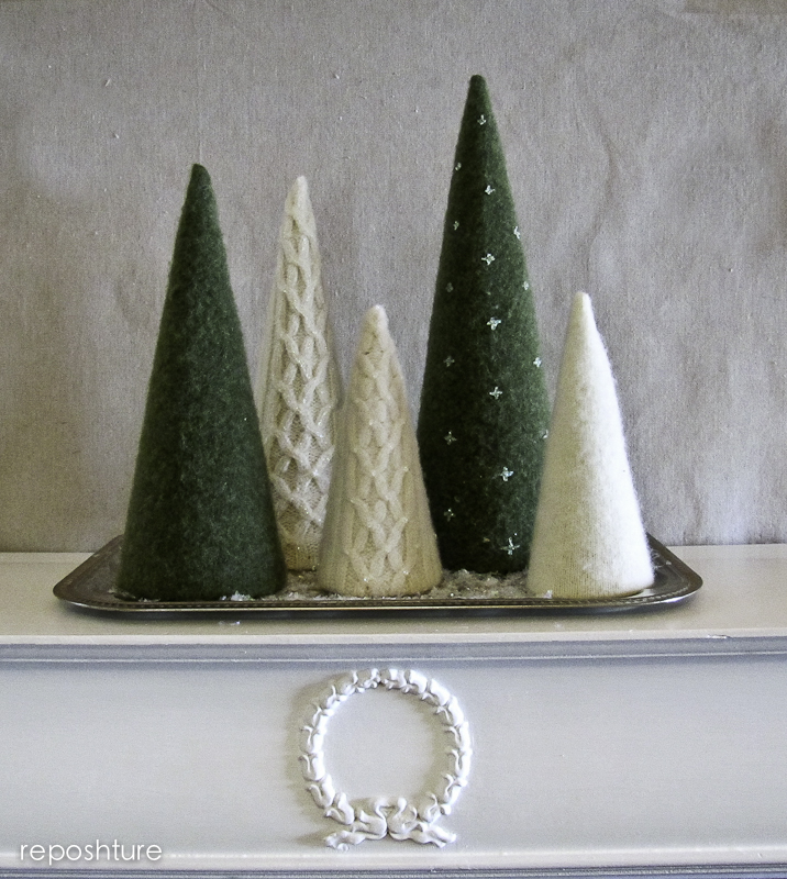 felted sweater trees, crafts, repurposing upcycling
