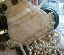 hand made vintage small bag with lace and antique buttons, crafts