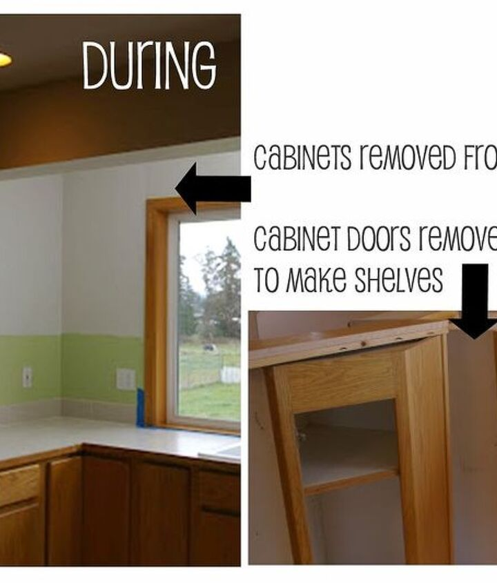 in one hour, the cabinets were removed from the walls. then the doors were removed from the cabinets - and used to create the shelves that would replace them!