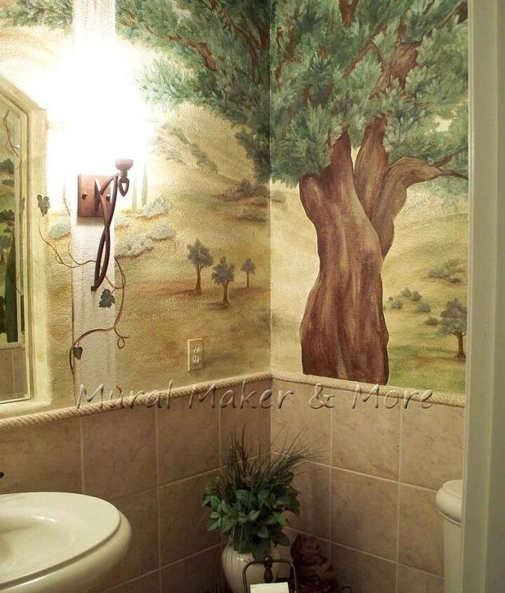tuscan mural in powder room, bathroom ideas, home decor, painting