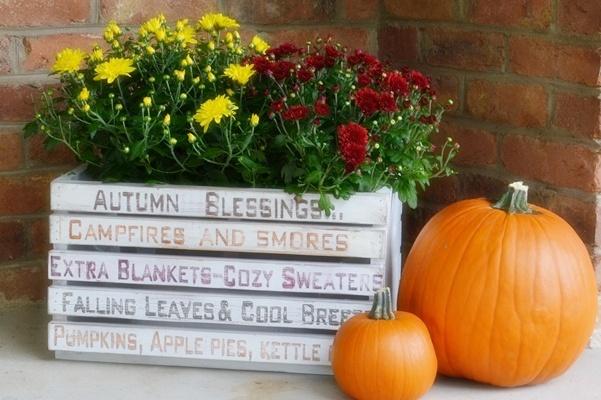 autumn diy word art crate, crafts, gardening, repurposing upcycling, seasonal holiday decor