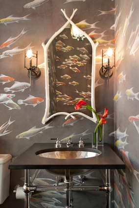 10 ways to give your bathroom a quick makeover this weekend happy friday, bathroom ideas, home decor, Wallpapered Powder Bathroom