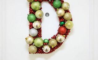 monogram ornament wreath, crafts, doors, seasonal holiday decor, wreaths