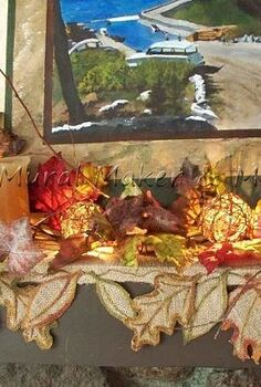 how to make fall leaf mantel scarf from burlap, crafts, decoupage, seasonal holiday decor