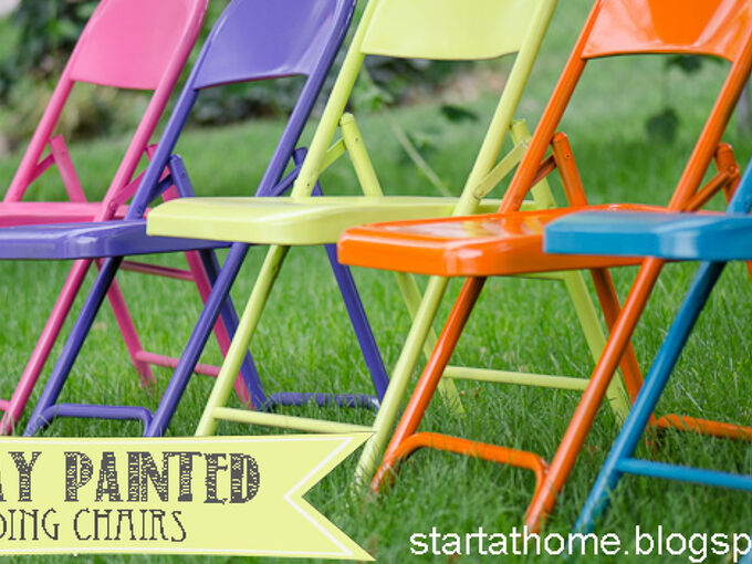 spray painted metal fold chairs, painted furniture