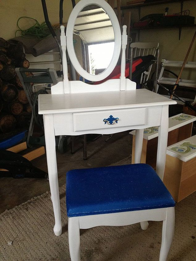 vanity… she wanted to bright blue on the seat