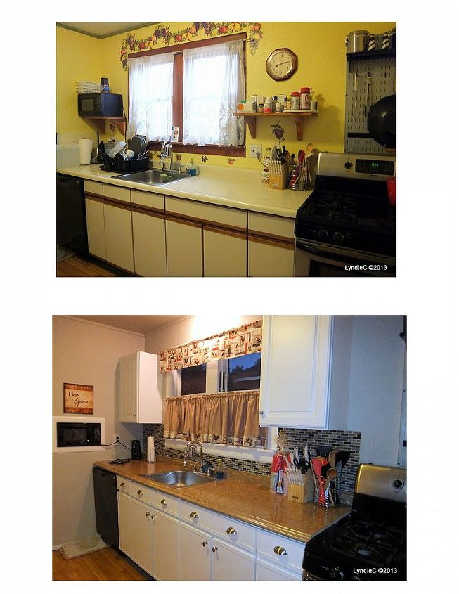 Before and after of our kitchen facelift.