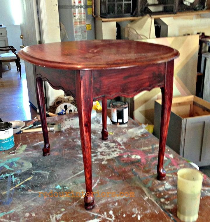 I started with this basic thrift store table in a very dated color.