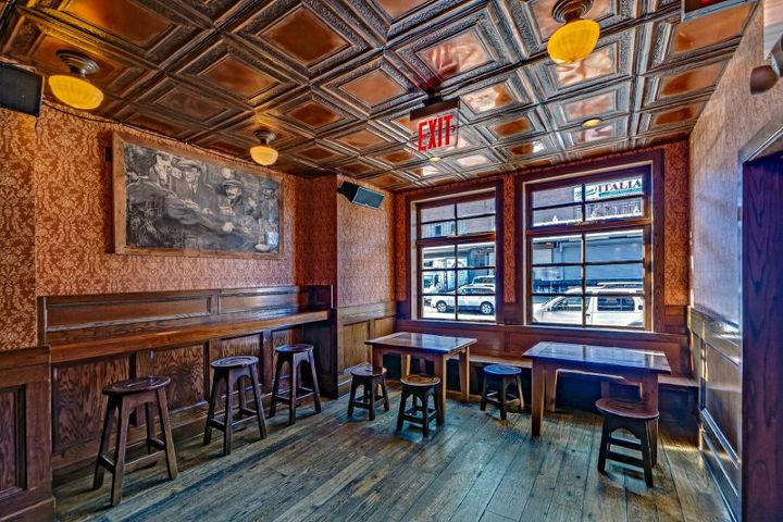 Artisan tin tiles create a loft-like space