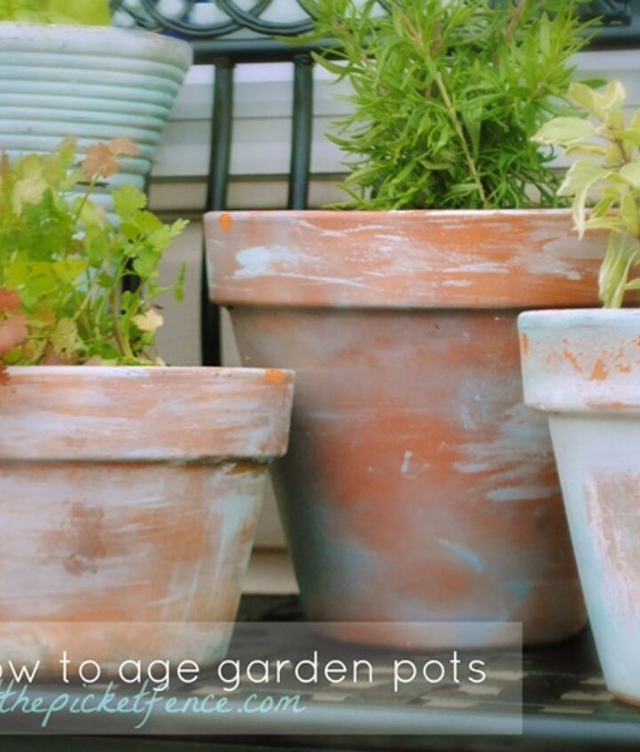 It's easy to age new pots to a lovely time worn patina with this simple tutorial.