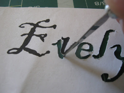 Add names to each silhouette by either free-handing it or cutting and tracing a print out.