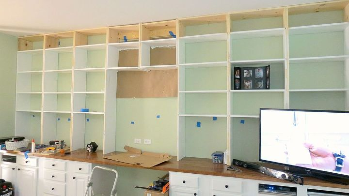 diy built in bookcases, diy, shelving ideas, woodworking projects, I painted all the bookcases
