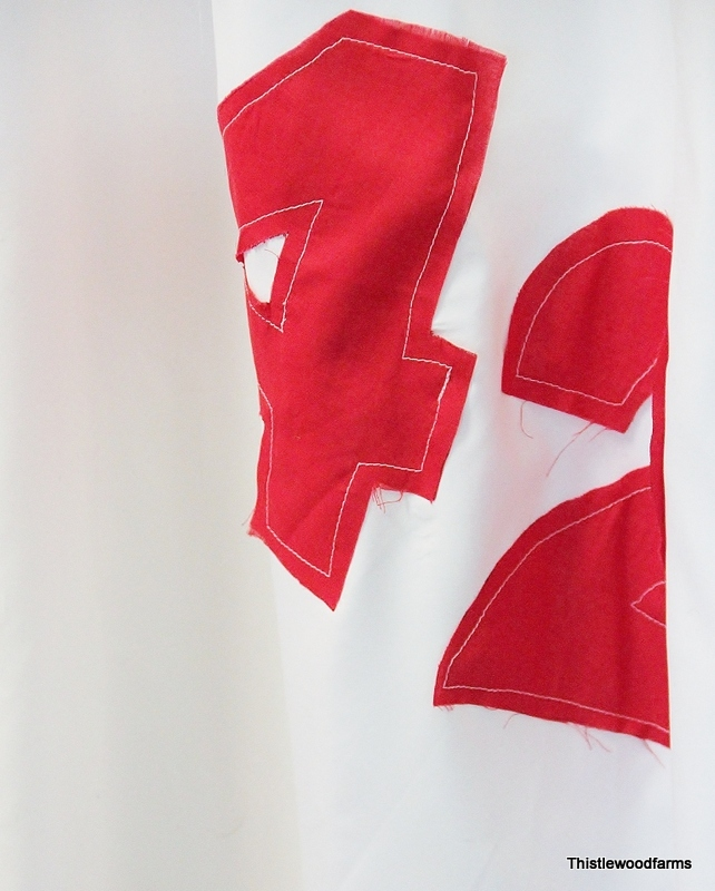 Red numbers http://www.thistlewoodfarms.com/sailcloth-shower-curtain