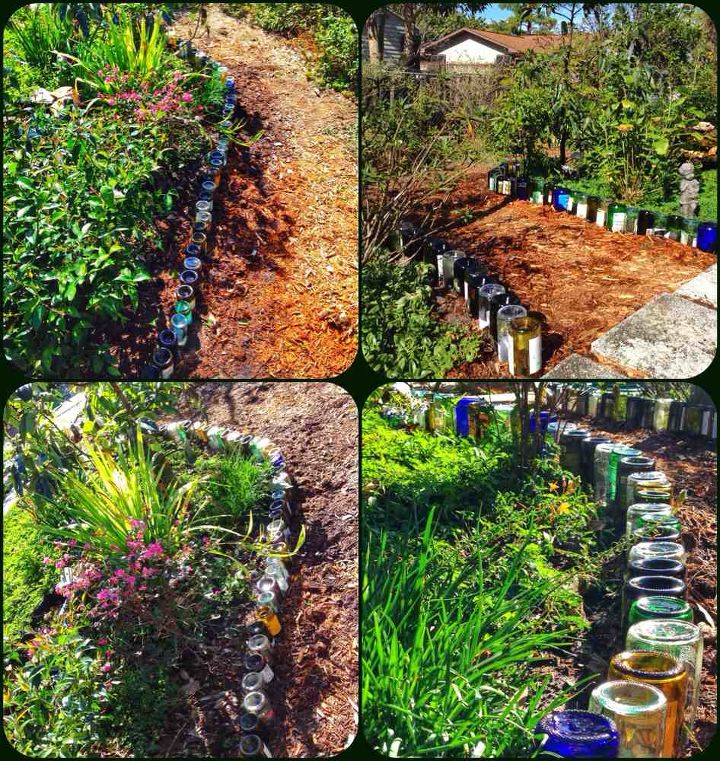i ve haven t posted lately, gardening, landscape, Wine bottle pathway