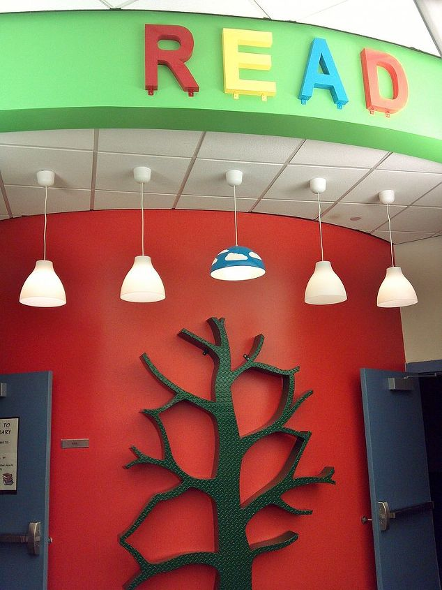 Kaza Design teamed up with members of the school PTA and the local High School metal shop to remodel the Spring Creek's library.