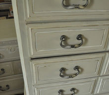 painted bedroom set, chalk paint, painted furniture, La Craie s Magnolia as the accent and La Bonne Terre for the body Updated hardware from knobs4less com
