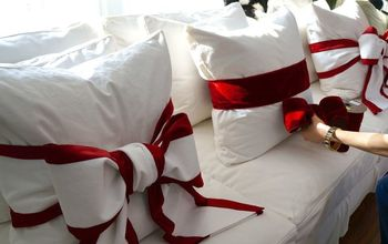 Simple Valentine's Decorating – Tie a Red Bow Around Your Sofa Pillows