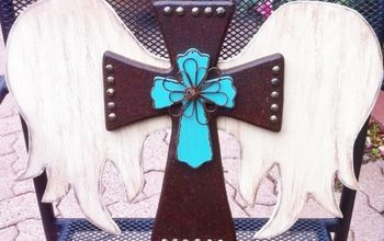 diy faux leather wood cross, crafts, Handcrafted faux leather cross