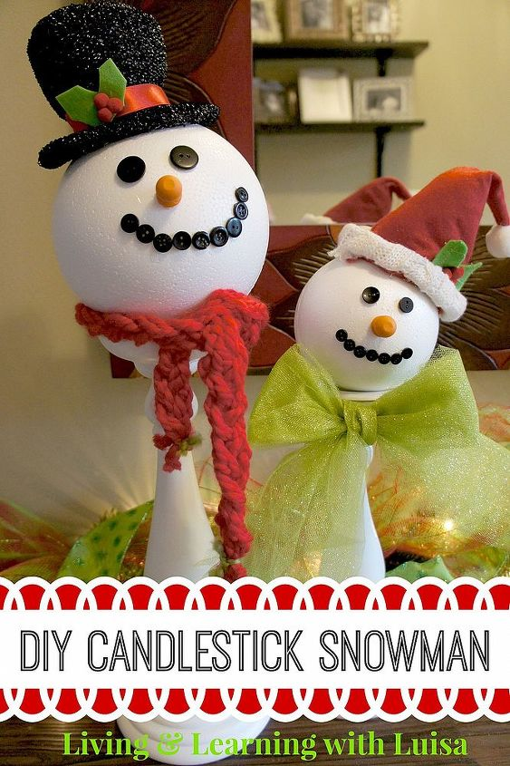 diy candlestick snowmen, christmas decorations, crafts, seasonal holiday decor