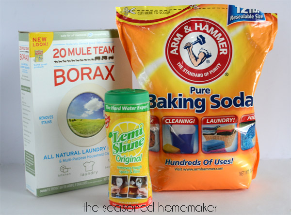 All you need to make  homemade dishwasher detergent.