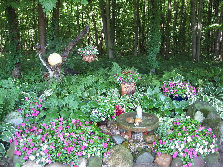 This is where my Fairyball piece sits in one of my shade gardens. Its on the left of this photo.
