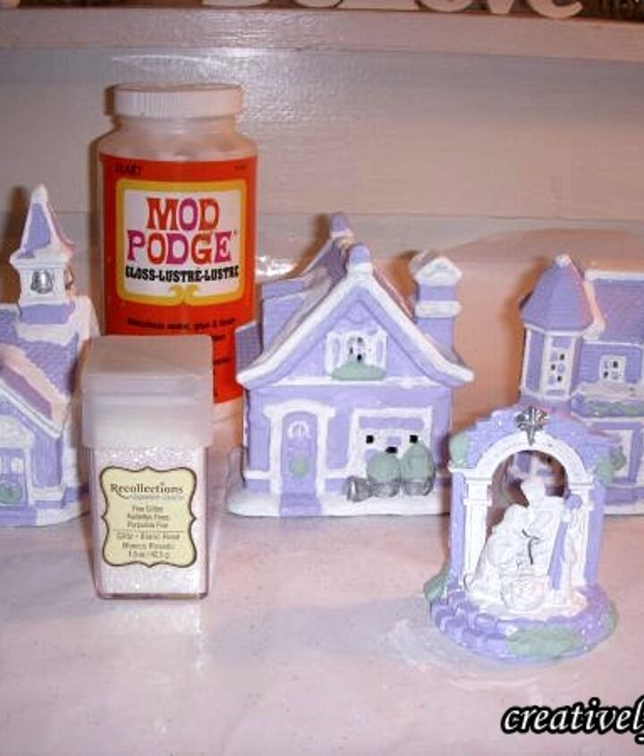 Add Mod Podge & Crystal Glitter to the pieces, one at a time.