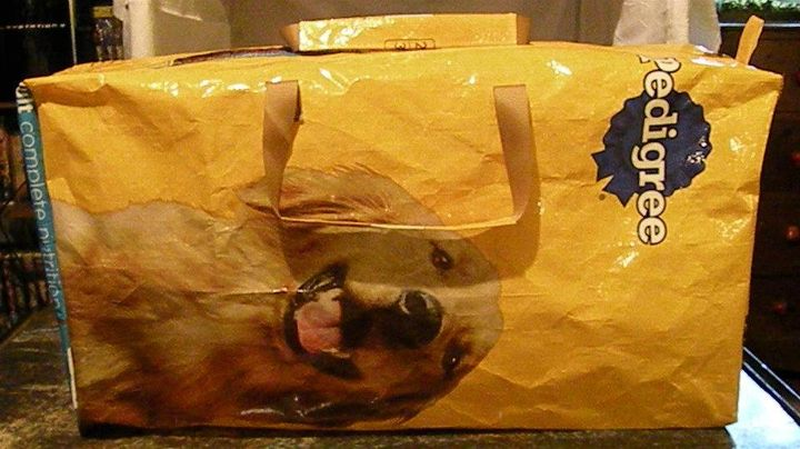 recycled pet food bags, repurposing upcycling, Duffle with zipper