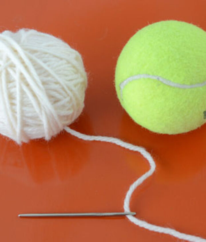 Keep winding until you form a wool ball about the size of a tennis ball.  Stick the yarn tail into the ball using a blunt needle.