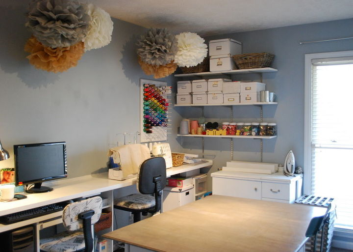 a diy sewing room, cleaning tips, craft rooms, organizing, shelving ideas, storage ideas, MDF shelves provide lots of easy access storage The tissue paper pompoms help soften and add some pretty to the utilitarian space